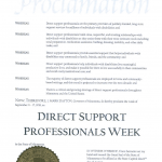 Sept 11-17, 2016 proclaimed Direct Support Professionals Week by MN Gov Dayton.